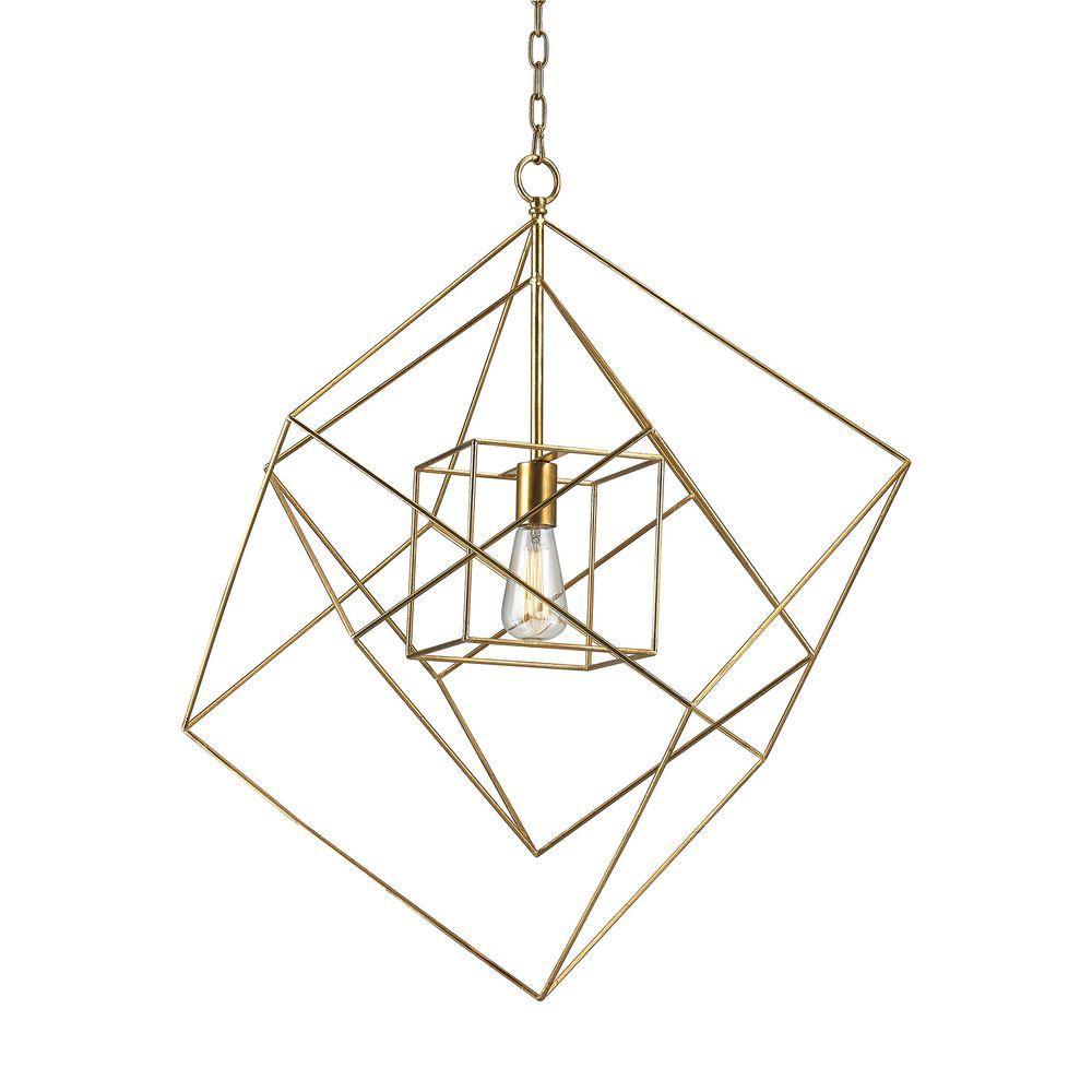 Neil 1-Light Gold Leaf-Large Box Pendant