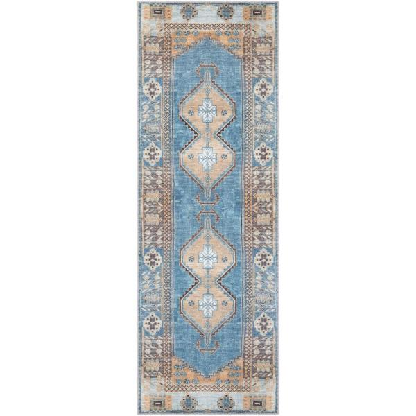 Artistic Weavers Aziza Blue 2 Ft 7 In X 10 Ft Runner Medallion Area Rug S00161027676 The Home Depot