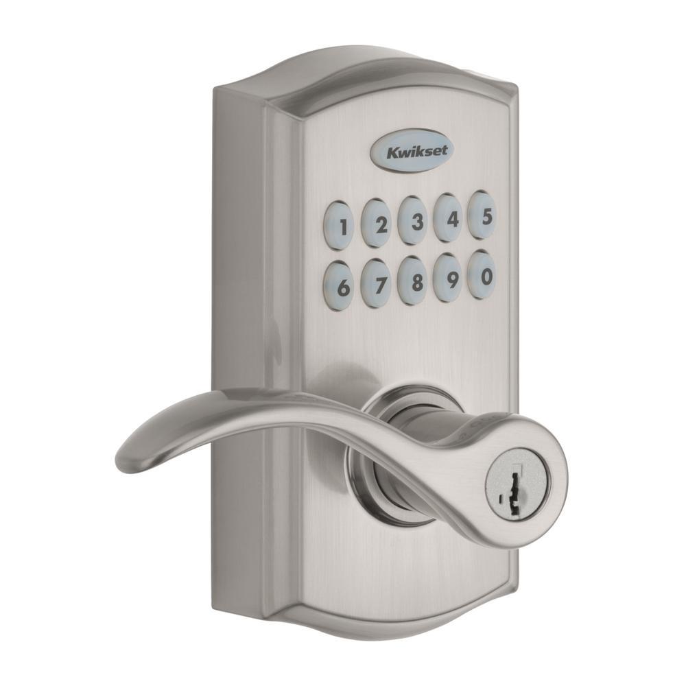 Kwikset Kwikset 955 SmartCode Satin Nickel Electronic Pembroke Door Lever Featuring SmartKey Security