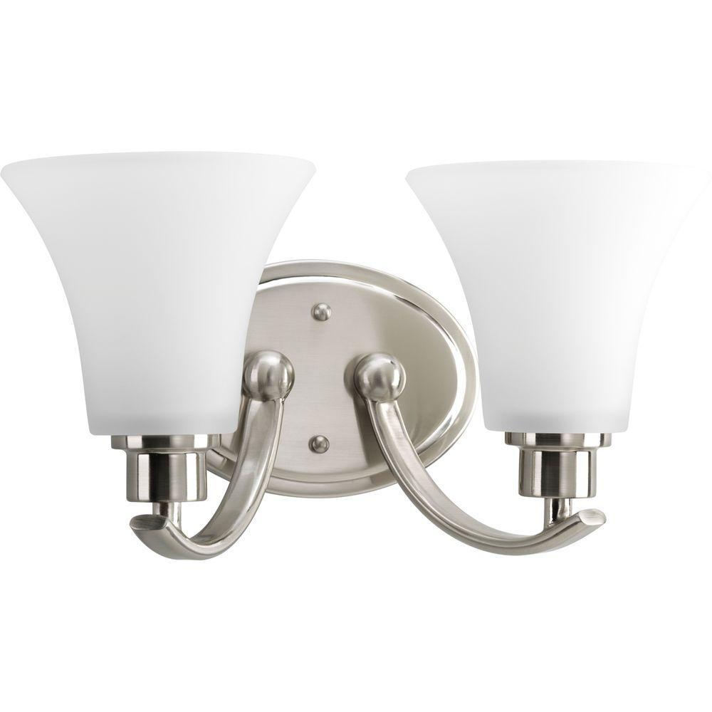 Progress Lighting Joy Collection 2 Light Brushed Nickel Bathroom Vanity Light With Glass Shades