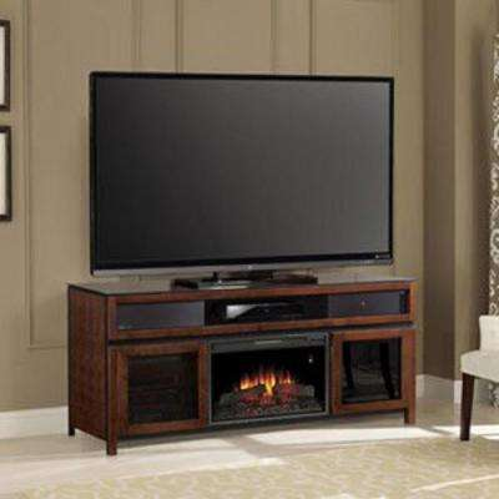 Gramercy 26 in. Media Mantel Soundbar Electric Fireplace in Chocolate