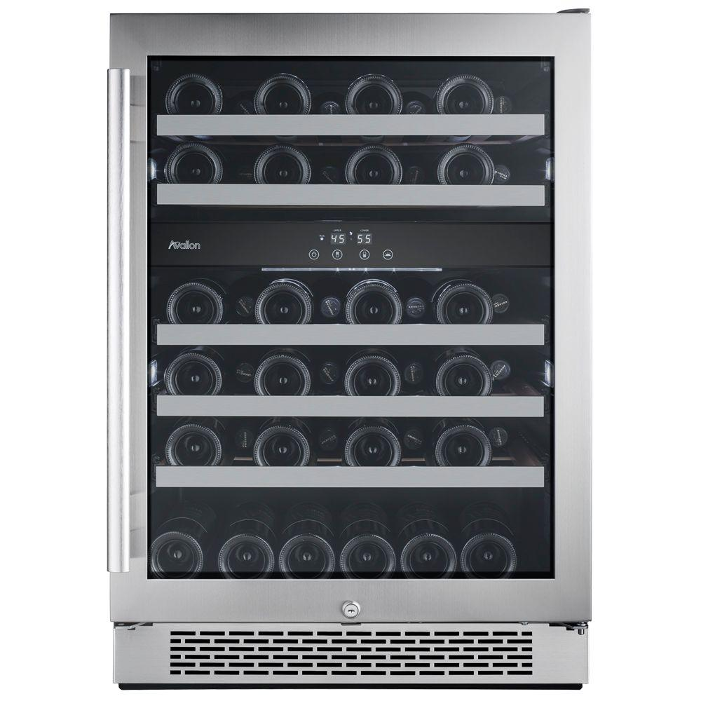 46-Bottle 24 in. Built-in Dual Zone Wine Cooler with Argon Filled