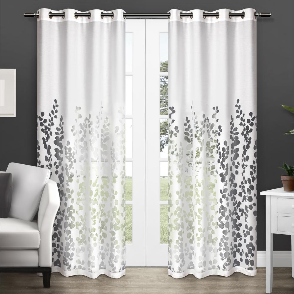 Wilshire Winter White Burnout Sheer Grommet Top Window Curtain