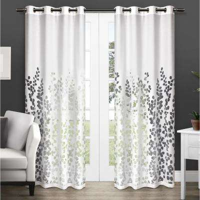 Wilshire 54 in. W x 96 in. L Sheer Grommet Top Curtain Panel in Winter White (2 Panels)
