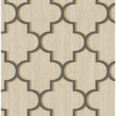 Agate Metallic Charcoal and Gold Ogee Wallpaper