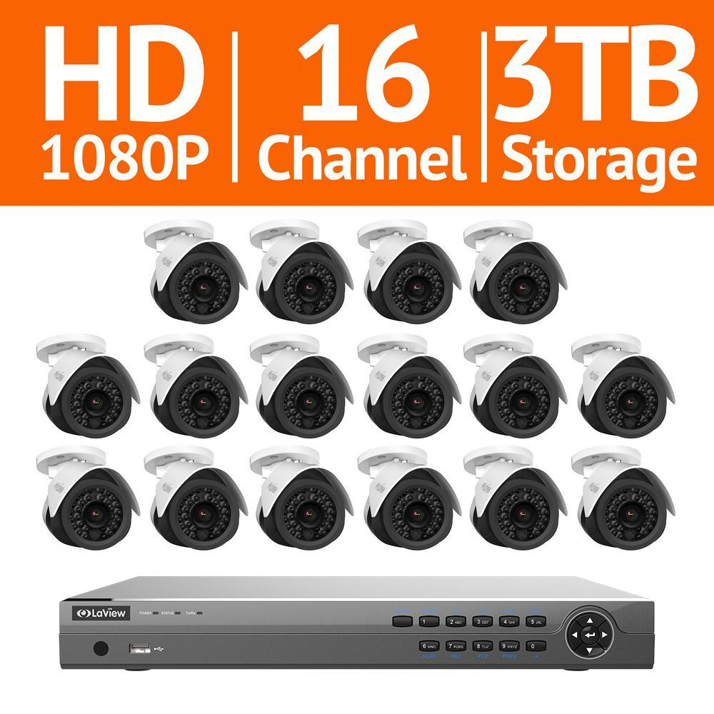 16-Channel 2MP 3TB IP NVR Surveillance System (16) 2MP Bullet Cameras