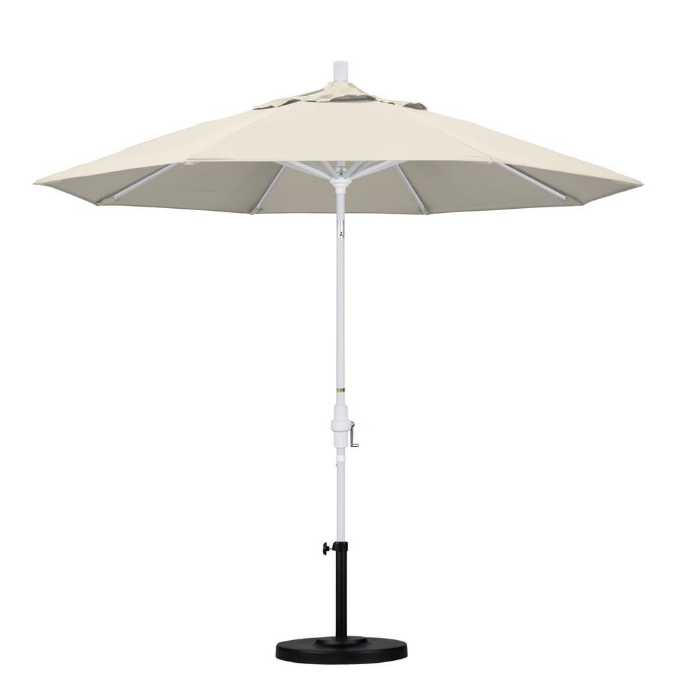 California Umbrella March Products GSCU908170-F22 9 ft. Aluminum Market Umbrella Collar Tilt - Matted White - Olefin - Antique Beige