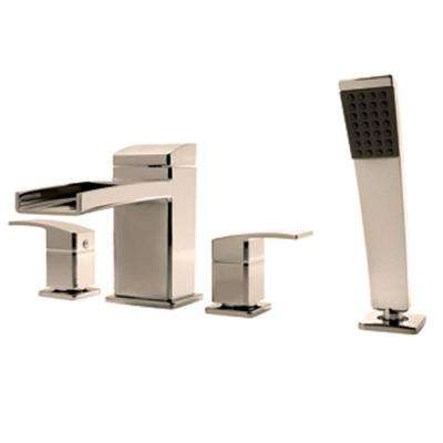 Kenzo 2-Handle Deck Mount Roman Tub Faucet Trim Kit with Handshower in Brushed Nickel (Valve Not Included)