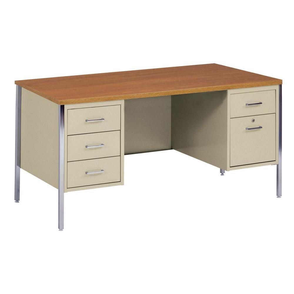 400 Series Double Pedestal Steel Desk in Putty/Oak