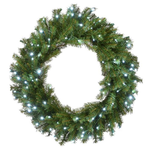National Tree Company 30 In Norwood Fir Wreath With Memory Shape And 150 Cool White Led Lights Nf3 322l 30wm 1 The Home Depot