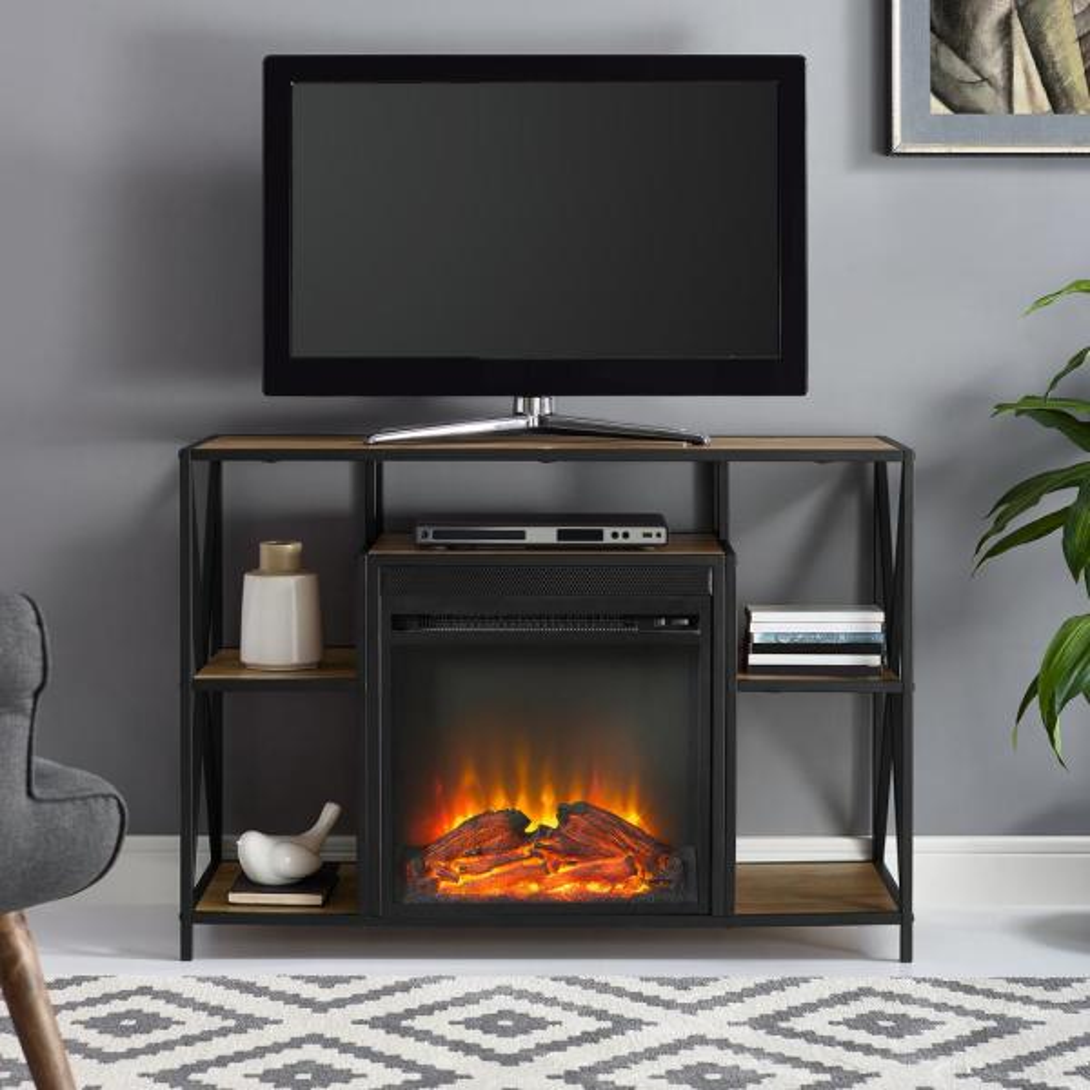 Walker Edison 40 Rustic Electric Fireplace X Frame Tv