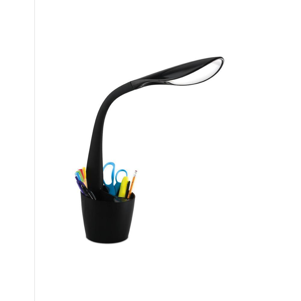 OttLite 11.75 in.Black LED Desk Space Organizer Lamp ...