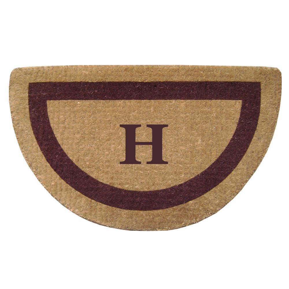Single Picture Frame Brown 22 in. x 36 in. Heavy Duty Coir Monogrammed H Half Round Door Mat