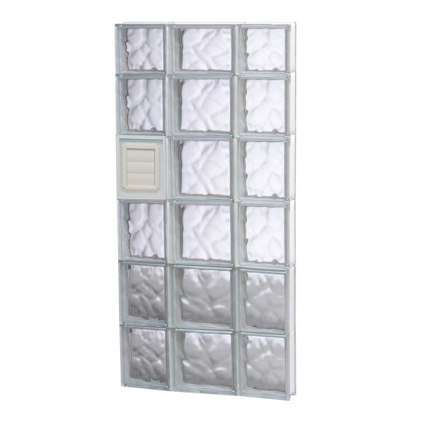 19.25 in. x 44.5 in. x 3.125 in. Frameless Wave Pattern Glass Block Window with Dryer Vent