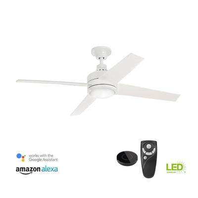 Mercer 52 in. Integrated LED Indoor White Ceiling Fan with Light Kit works with Google Assistant and Alexa