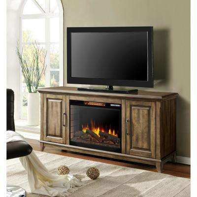 Marcus 60 in. W Freestanding Electric Fireplace TV Stand with Bluetooth in Antique Pine