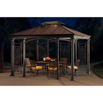 Wilson 10 ft. x 12 ft. Black Aluminum and Steel Gazebo with 2-Tier Brown Steel and Polycarbonate Roof Hardtop