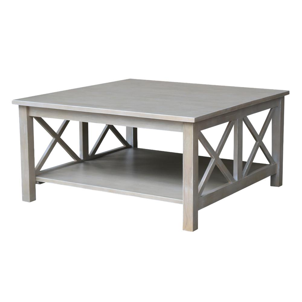 grey wood coffee table International Concepts Hampton Weathered Taupe Gray Coffee Table  grey wood coffee table