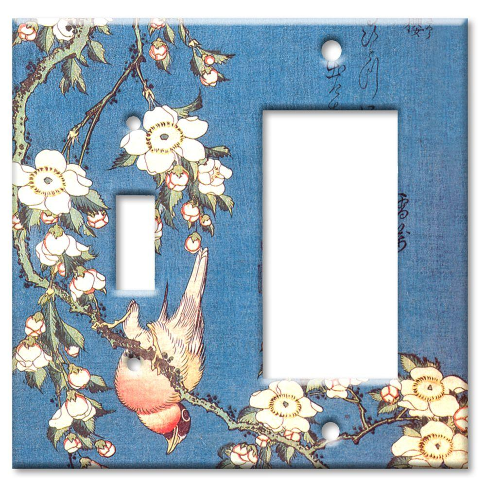 Art Plates Hokusai Weeping Cherry and Bullfinch Switch/Rocker Combo Wall Plate