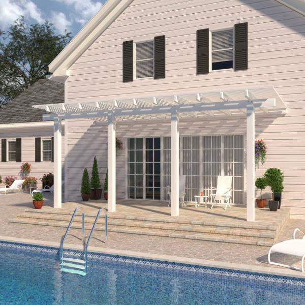 24 ft. x 12 ft. White Aluminum Attached Open Lattice Pergola with 4 Posts Maximum Roof Load 10 lbs.