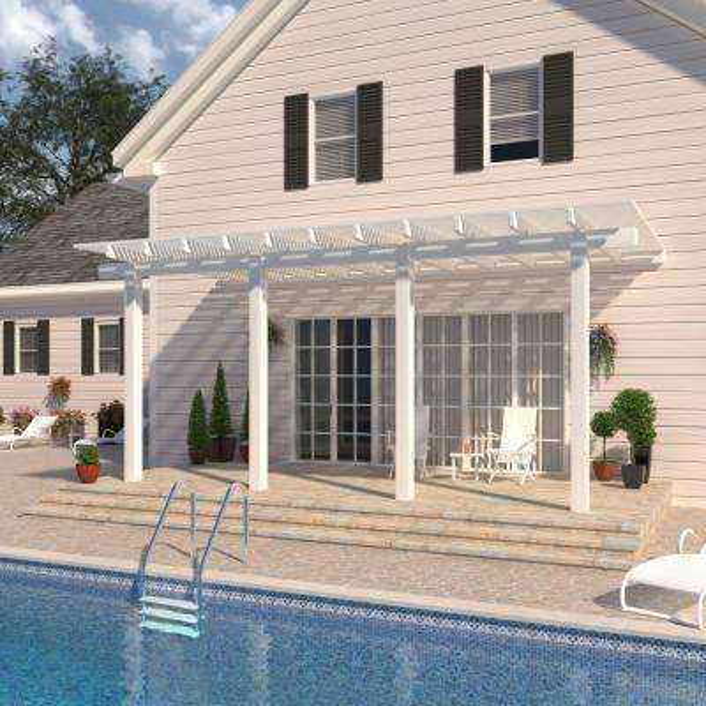18 ft. x 10 ft. White Aluminum Attached Open Lattice Pergola with 4 Posts Maximum Roof Load 20 lbs.