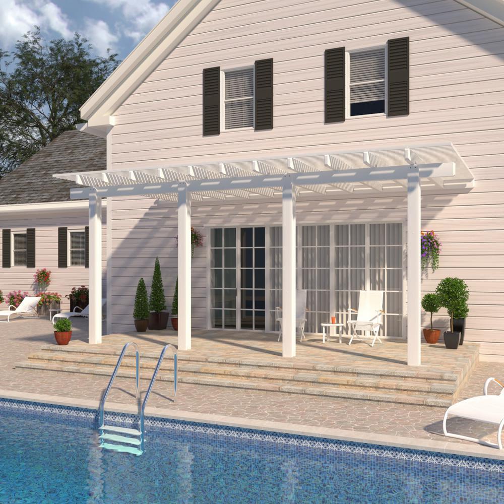 14 ft. x 12 ft. White Aluminum Attached Open Lattice Pergola with 4 Posts Maximum Roof Load 20 lbs.