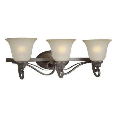 3-Light Antique Bronze Bath Vanity Light with Shaded Umber Glass