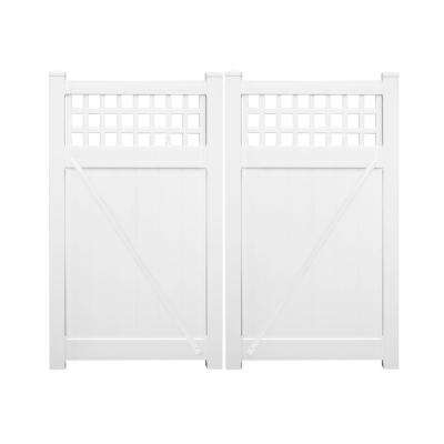 Scottsdale 7.4 ft. W x 6 ft. H White Vinyl Privacy Double Fence Gate