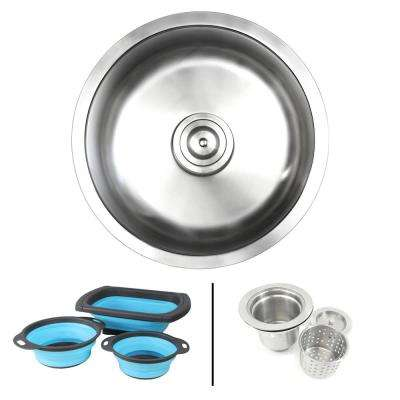 Undermount 18-Gauge Stainless Steel 17-1/8 in. Single Bowl Kitchen / Bar Sink in Satin Pearl with Collapsible Colanders