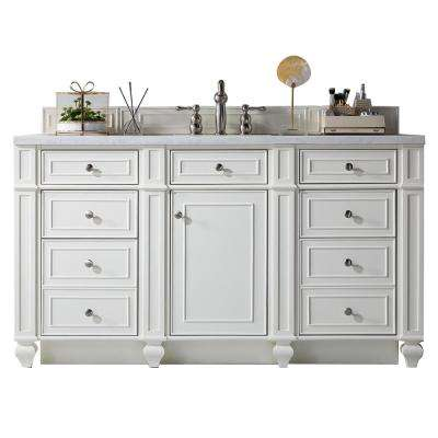 Bristol 60 in. W Single Vanity in Cottage White with Soild Surface Vanity Top in Arctic Fall with White Basin