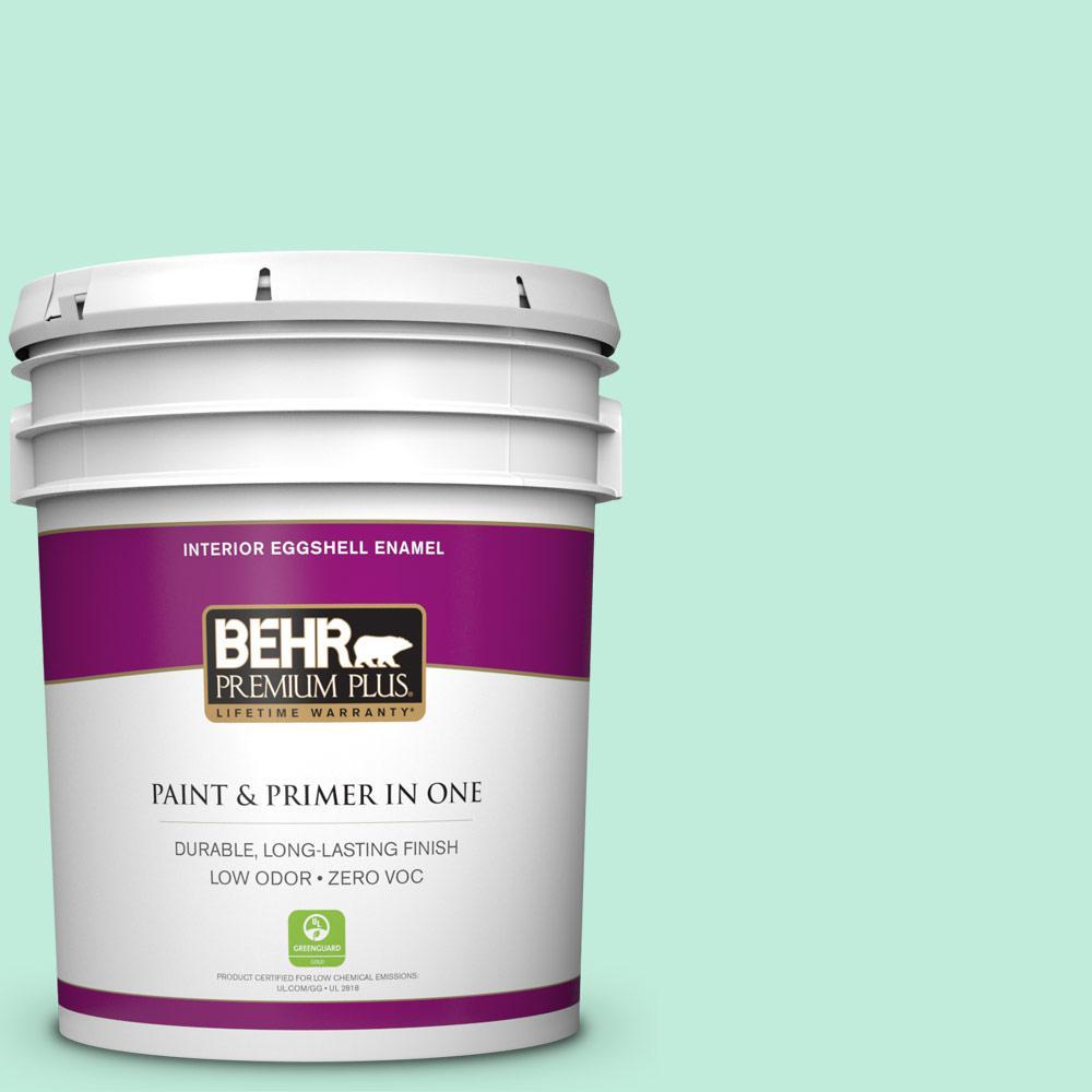 BEHR Premium Plus 5-gal. #470A-2 Seafoam Pearl Zero VOC Eggshell Enamel Interior Paint