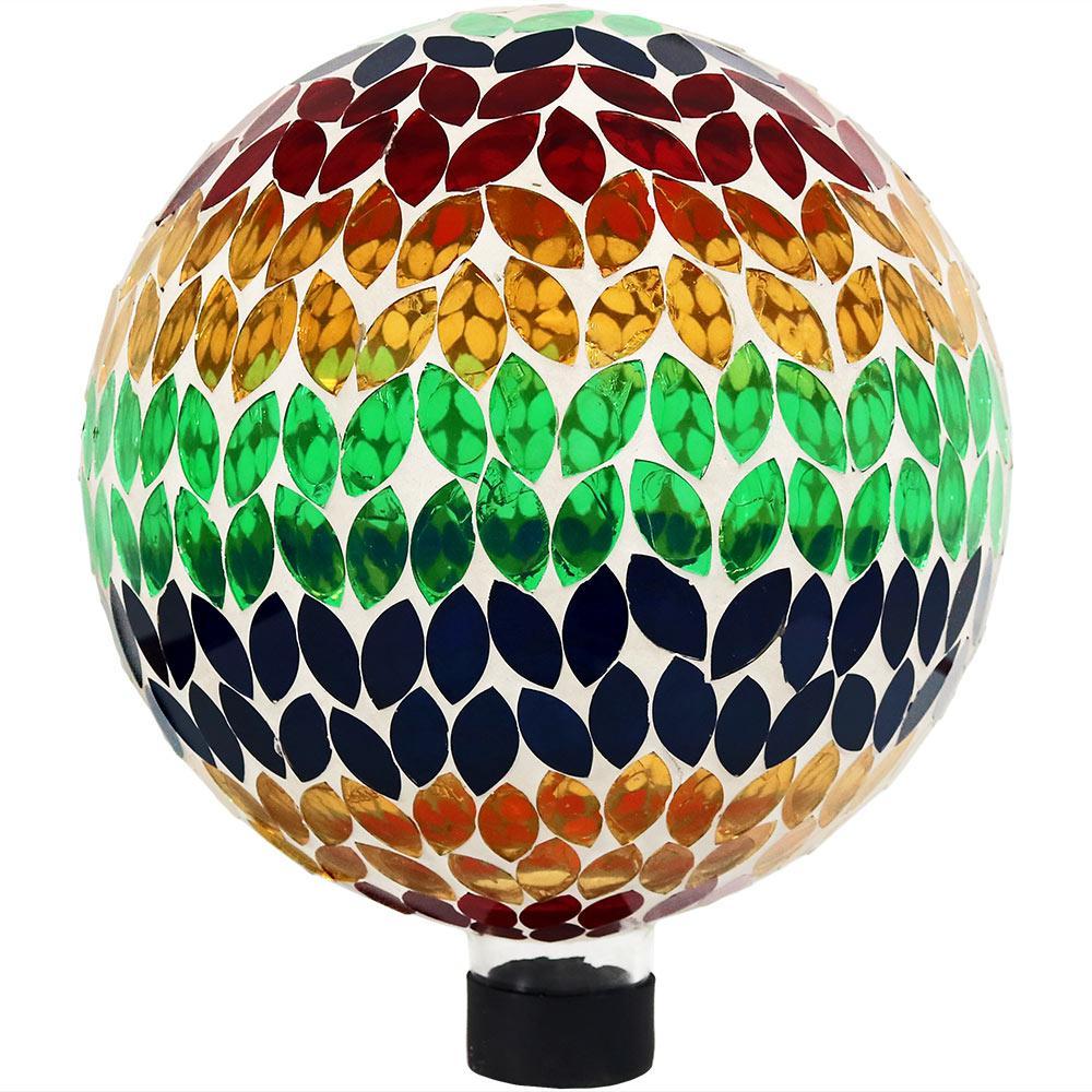 Mosaic Garden 10 in. Gazing Ball Yard Decor Rainbow