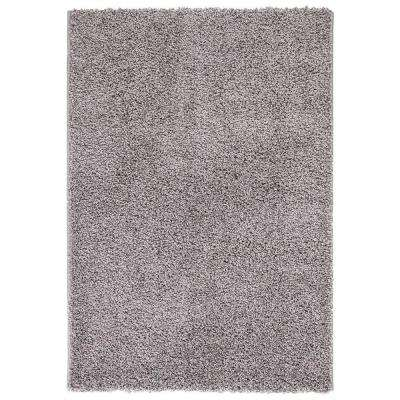 Plush Solid Shaggy Grey 5 ft. x 7 ft. Rectangle Shag Indoor Area Rug