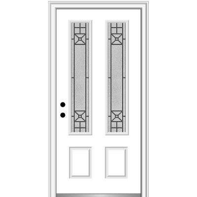 36 in. x 80 in. Courtyard Right-Hand 2-Lite Decorative Primed Fiberglass Smooth Prehung Front Door, 4-9/16 in. Frame