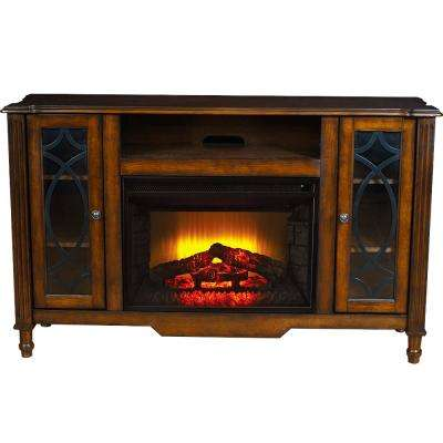 Bold Flame Valencia 55 in. Media Console Electric Fireplace in Brown Oak