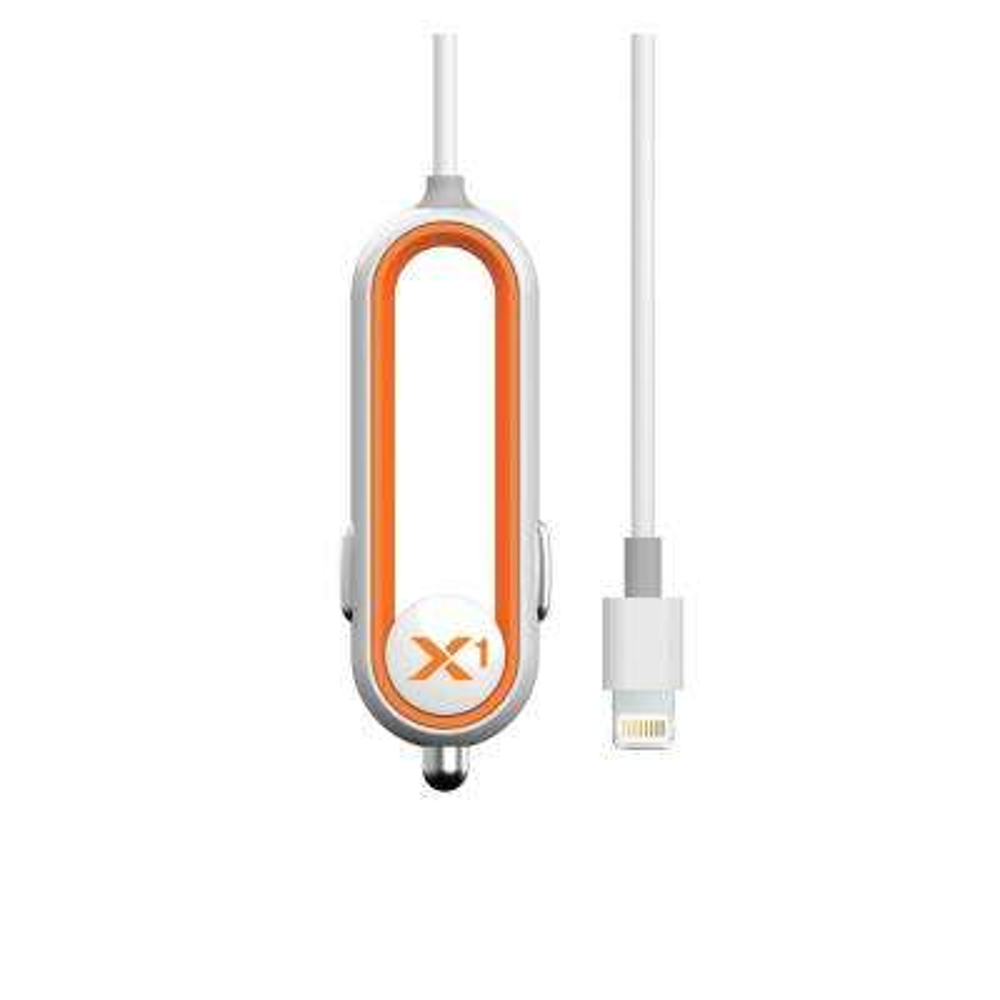 X1 Car Charger with Lightning Connector Apple MFI Certified 2.4 Amp Sleek Artistic Design, Orange