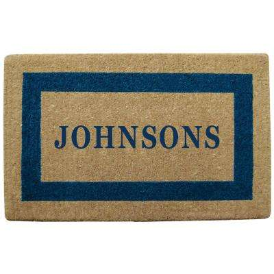 Single Picture Frame Blue 22 in. x 36 in. Heavy Duty Coir Personalized Door Mat