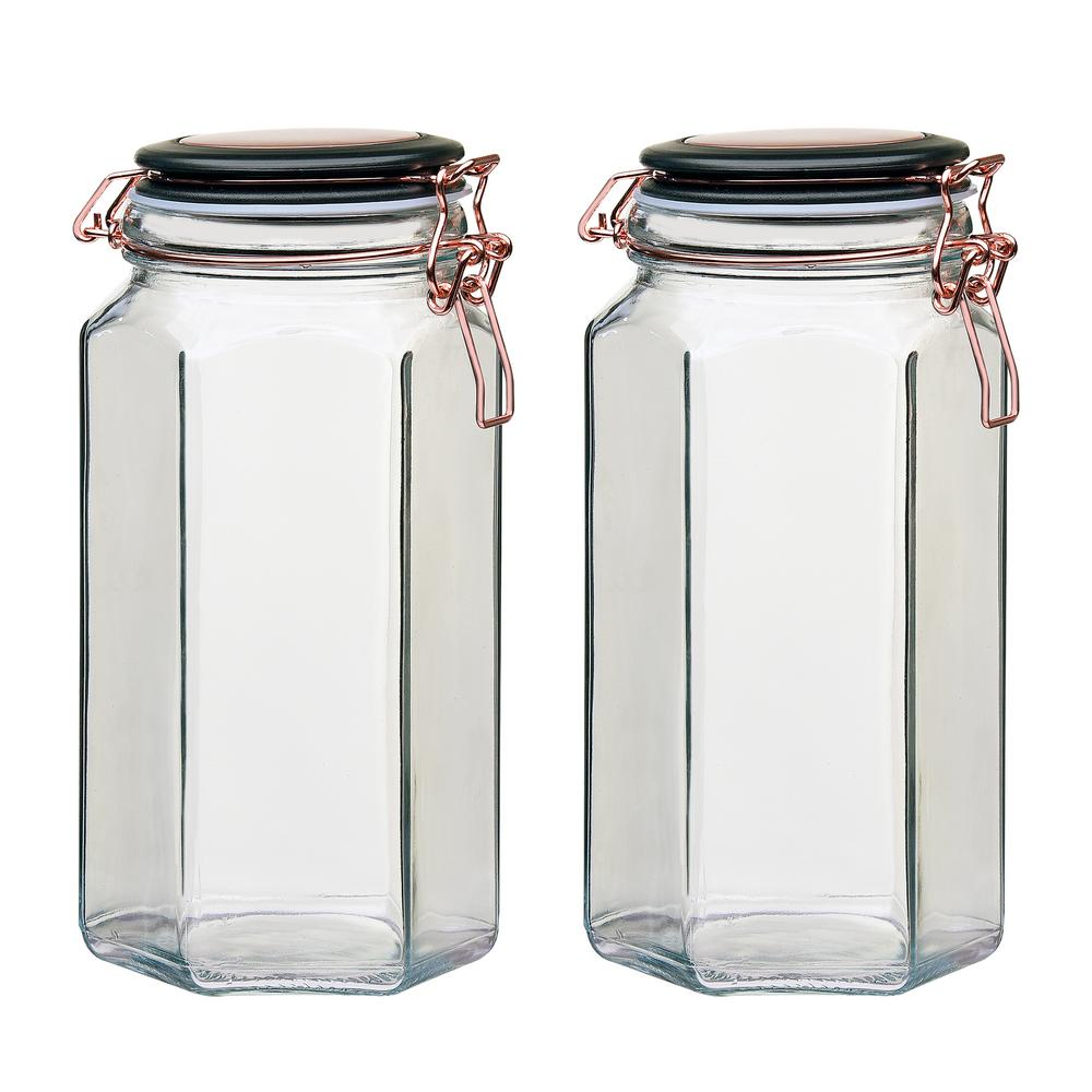 Adler 52 oz. 2-Piece Glass Hermetic Canister with Copper Clips
