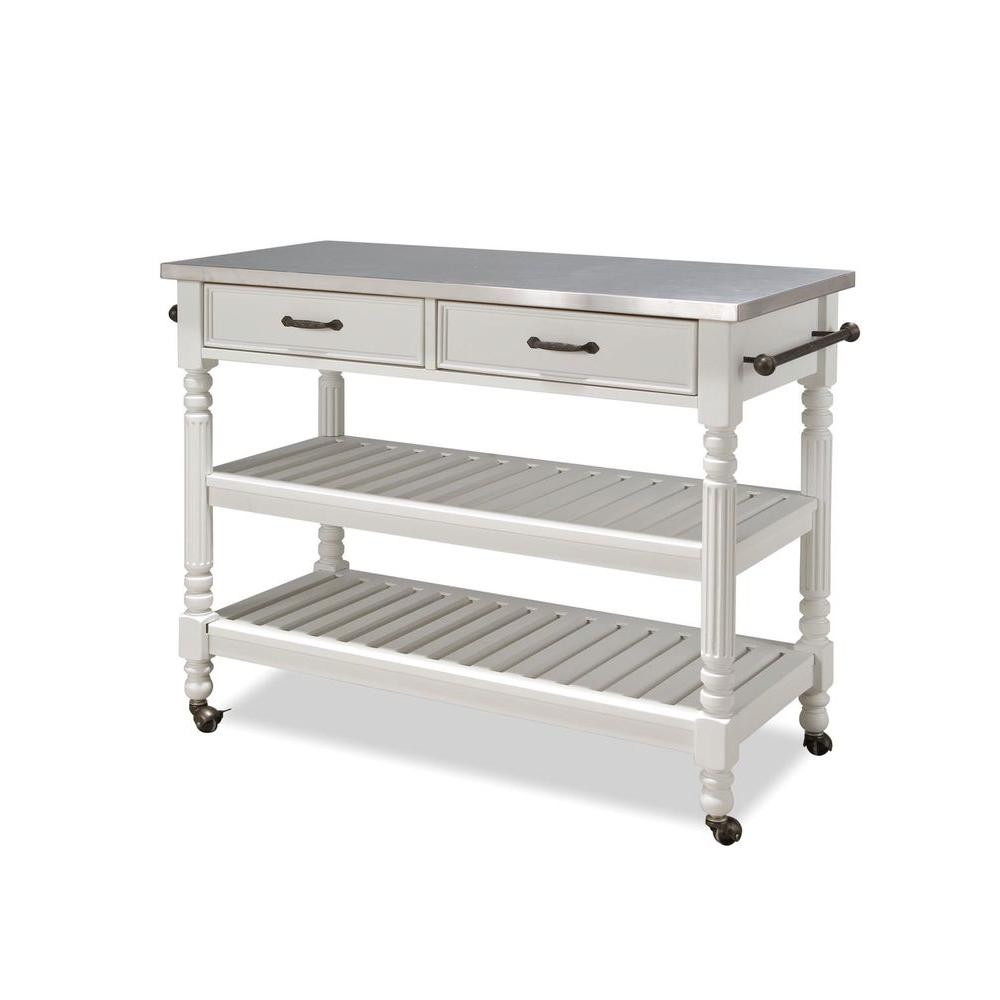 Stainless Kitchen Cart: Home Styles Savannah White Kitchen Cart With Stainless Top