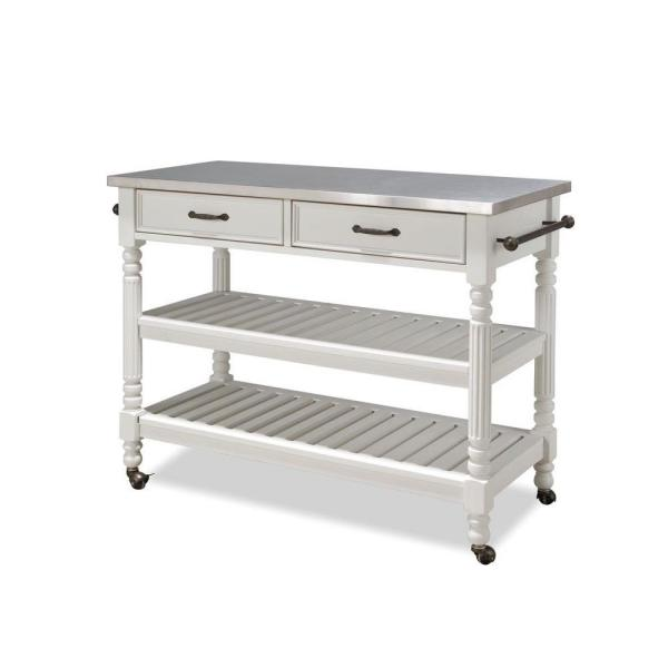 Home Styles Savannah White Kitchen Cart With Stainless Top