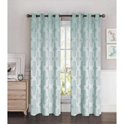 Semi-Opaque Drona Thermal 84 in. L Room Darkening Grommet Curtain Panel Pair, Steel Blue (Set of 2)