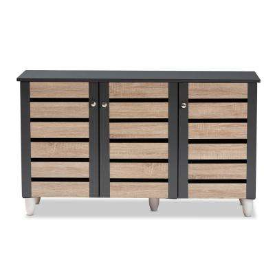 Gisela 26 in. H x 44 in. W 14-Pair Oak and Dark Gray Wooden Shoe Storage Cabinet