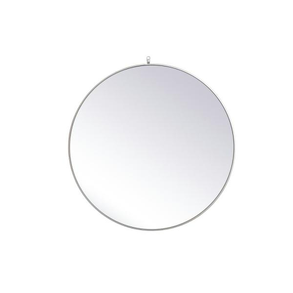 Medium Round Silver Modern Mirror (39 in. H x 39 in. W)