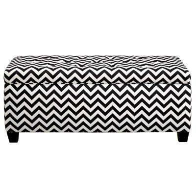 Sean ZZ Black/White 10-Button Tufted Upholstered Large Storage Bench
