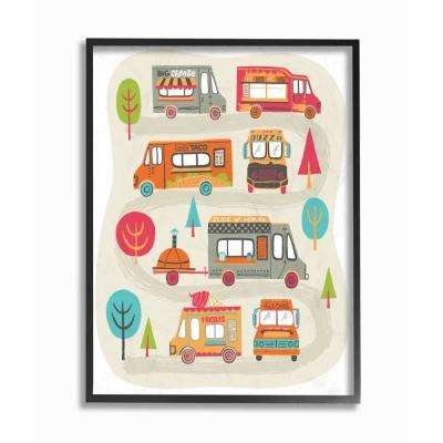 "16 in. x 20 in. ""Mod Illustration Quirky Food Trucks And Trees"" by Allison Cole Framed Wall Art"