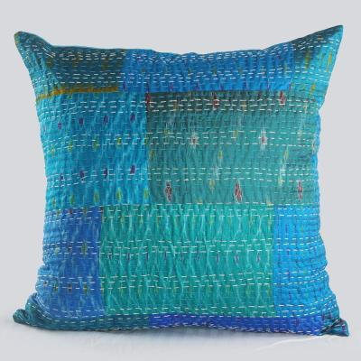 Kantha Blue Graphic Hypoallergenic Polyester 20 in. x 20 in. Throw Pillow