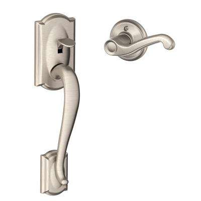 Camelot Satin Nickel Entry Door Handle with Left Handed Flair Lever