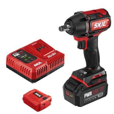 PWRCore Brushless 20-Volt Cordless 1/2 in. Impact Wrench Kit w/5.0Ah Lithium-Ion Battery, PWRAsst USB Adapter & Charger
