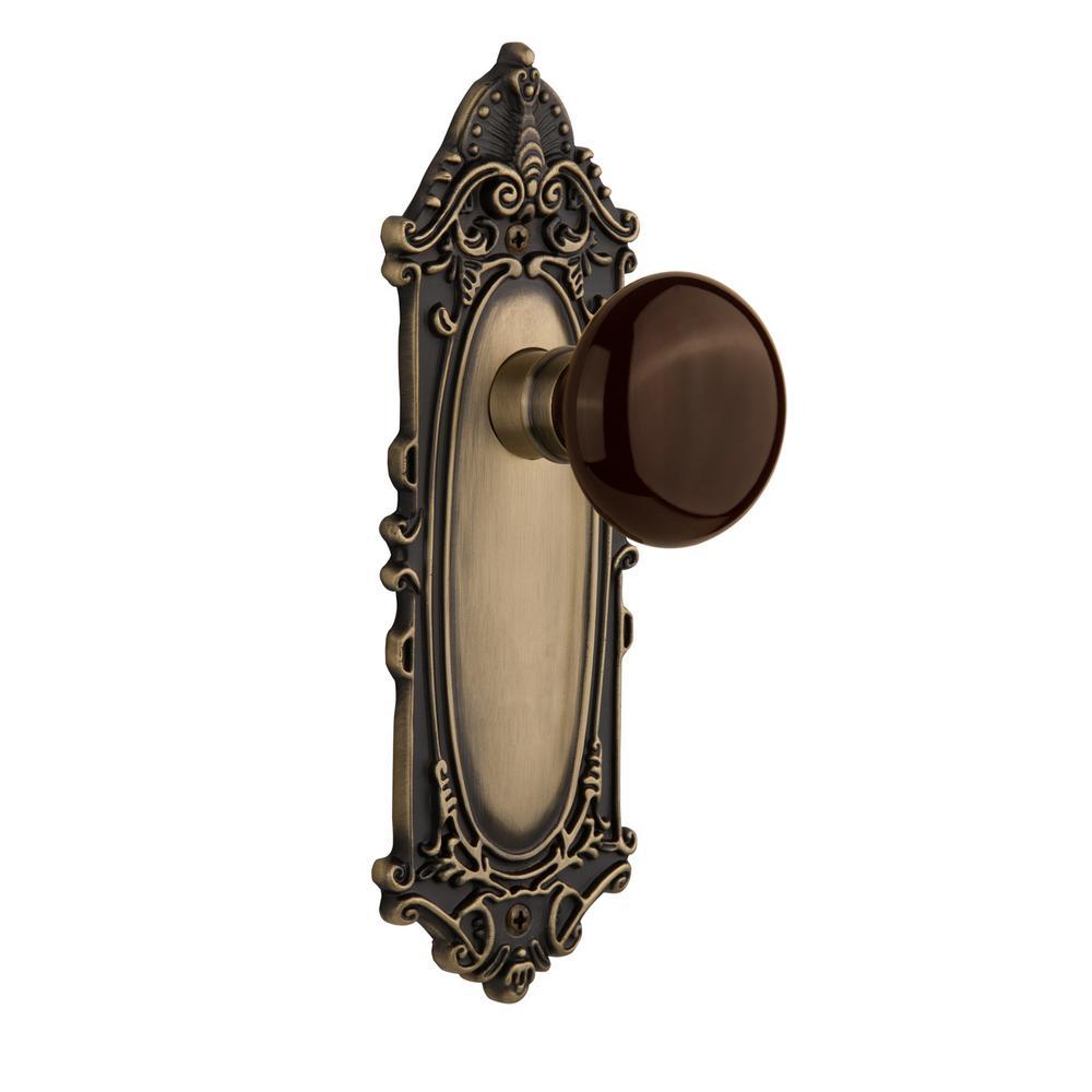 Victorian Plate 2-3/8 in. Backset Antique Brass Privacy Brown Porcelain Door Knob