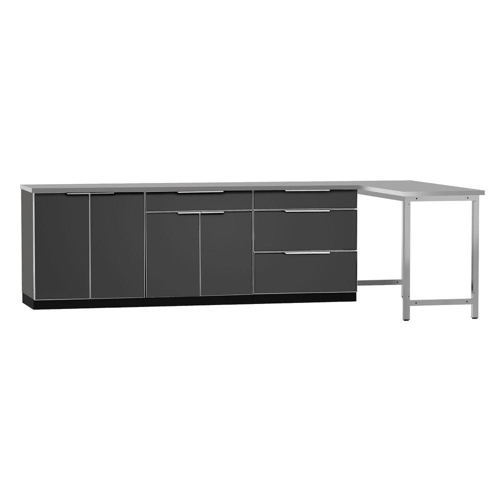 Complete Kitchen Cabinet Packages: NewAge Products Aluminum Slate 5-Piece 160x36x24 In